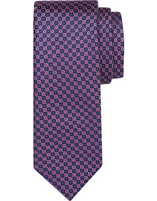 CANALI Purple Pure Silk Tie With Blue Optical Clover Motif