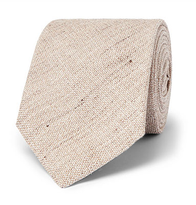 Kingsman Mélange Linen and Silk-Blend Tie Beige