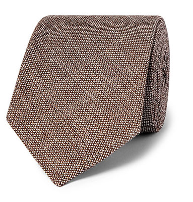Kingsman Mélange Linen and Silk-Blend Tie Brown