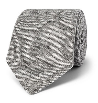 Kingsman Mélange Linen and Silk-Blend Tie Gray