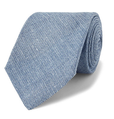 Kingsman Mélange Linen and Silk-Blend Tie Light Blue