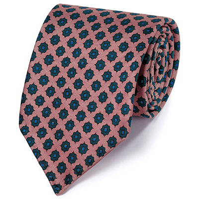 Pink and navy motif luxury English hand rolled silk tie