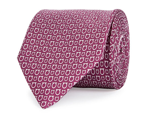 Salvator Ferragamo Maroon and Light Pink Silk Tie