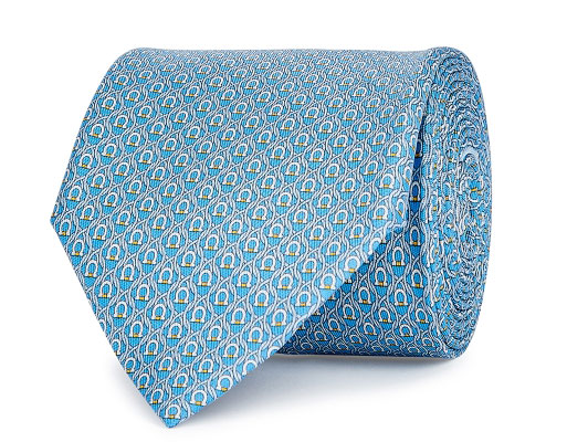 Salvator Ferragamo Tonal Blue and Grey Silk Tie