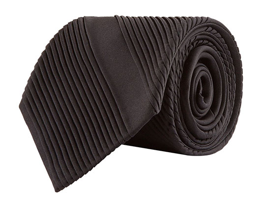 Stefano Ricci Silk Pleat Detail Black Tie