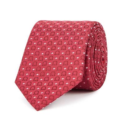 Salvator Ferragamo Maroon and Light Pink Silk Tie
